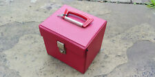 "RECORD STORAGE CASE 7"" (for 45s) - red textured vinyl - single catch with key"