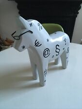 More details for vintage limited edition swedish wooden hand painted dala horse scandi large (2)