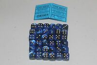 Chessex Black Blue with Gold 36 Gemini 12mm Pipped Dice CHX 26835