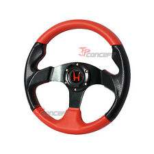 For 97-01 Honda Prelude 320MM JDM Black/Red Leather 6-Hole Steering Wheel +HUB