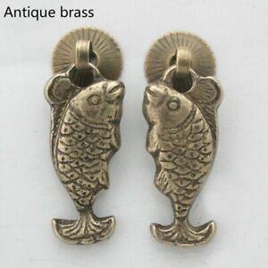 1 Pair Fish Chinese Retro Brass Handles Furniture Drawer Pulls Cabinet Knob Door