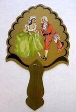 Vintage Bridge Tally Hand Fan w/ Colonial Style Couple