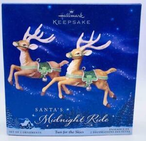 Two for the Skies Santa's Midnight Ride 2005 Hallmark Keepsake Ornament Set NIB