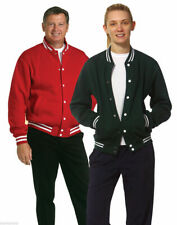Adults Plain Varsity Fleece Jacket   Unisex Letterman Casual Contrast Coat