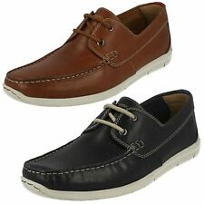 Mens Clarks Karlock Step Navy Or Tan Leather Casual Lace Up Shoes