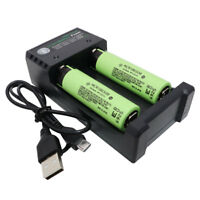 2X 18650 3400mAh 3.7V Li-ion NCR Battery Rechargeable High Drain and USB Charger