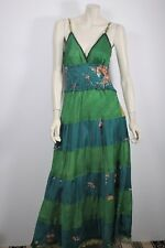 ISHKA SILK SHIRRED TIER MAXI DRESS  SZ M / L BOHO / BUY 3 = FREE POST