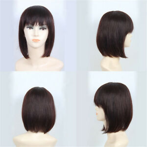 Women Handmade Straight Hair 100% Human Hair Topper Hairpiece Toupee Top Piece