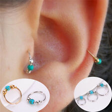 Turquoise Nostril Earring Stainless Steel Hoop Piercing Nose Ring Women Jewelry