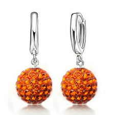Austrian CZ Crystal Pave Disco Ball Hoop Lever Back Earrings Woman Jewelry Orange