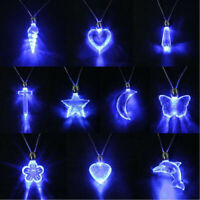 NEW Unisex LED Blue Magnetic Light Charm Pendant Necklace Xmas Birthday Gift FIN