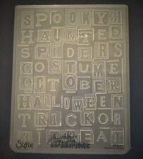 Sizzix Large Embossing Folder HALLOWEEN WORDS TIM HOLTZ fit Cuttlebug 4.5x5.75in