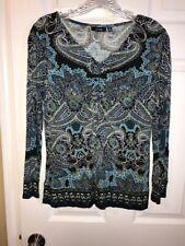 Apt.9 Ladies Blue/Black Blouse Size Petite Medium C1-08