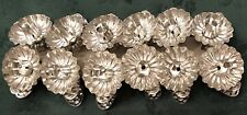 12 Victorian Tin Feather Christmas Tree Candle Holders Clip-On Pinecone Pattern