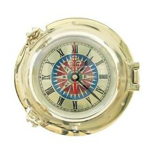 Massive Messing Bullaugen Uhr mit maritimen Windrosenzifferblatt - sc-1248