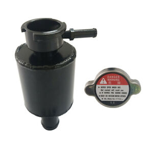 Universal Aluminum Coolant Radiator Overflow Tank Expansion Bottle And Cap Black