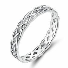 NEW 925 Sterling Silver Ring 4mm Eternity Knot Wedding Band for Women Size 4-11