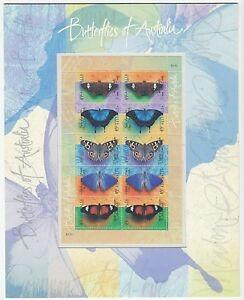 1998 STAMP PRESENTATION MINI SHEET 'BUTTERFLIES OF AUSTRALIA' 10 x 45c MNH