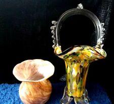 Vintage Fantastic Color Glass Basket & Vase Home Decor
