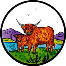 STAINED GLASS WINDOW ART - STATIC CLING  DECORATION - HIGHLAND CATTLE