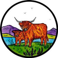 Vidriera Arte-estática Decoración-Highland ganado
