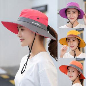 Women's Wide Brim Hat Sun Visor Summer Beach Ponytail Cap Anti UV Protect Plain