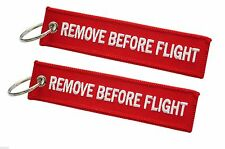 Red 'Remove Before Flight' Keyring / Keychain / Luggage Tag x 2