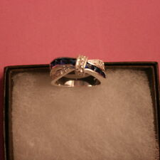 Beautiful Silver Plated Ring With Sapphire Cz. 1.2 Gr. Size N12 In gift Box