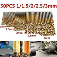 50Pc Titanium Coated HSS High Speed Steel Drill Bit Set Tool 1/1.5/2/2.5/3mm New