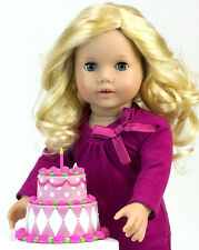 """Happy Birthday Cake works for 18"""" American Girl Dolls Food Accessories"""