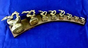 Set/8 Antique Burmese Silver Opium Weight w/ Base Mythological Hintha Bird 1900s