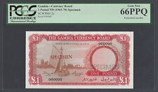 Gambia 1 Pound ND 1965 Specimen  P2s Uncirculated