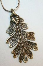 Textured Mid-sized Brasstone Leaf Pendant Necklace  ++++