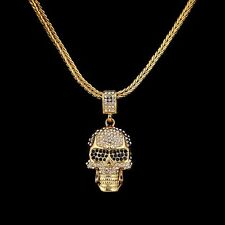 "30"" Mens Gold Plated 5mm Franco Link Chain CZ Crystal Skull Necklace + Box #N51"