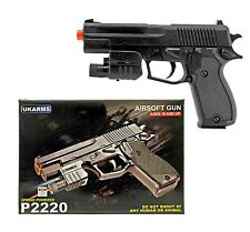 "7.5"" Spring Airsoft Black Rail Laser Light Pistol Gun 100fps w/ BBs Air P2220"