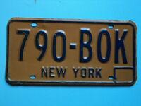 1970's 1980's EXPIRED NEW YORK License Plate 790 BOK NY