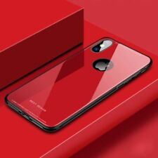 For iPhone XS Max XR Luxury 9H Hard Tempered Glass Case Glass Back Cover Skins