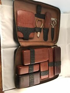 Antique VIntage Travel Shaving Kit w/ Brush, Mirror, Soap Case, Comb, Mirror etc