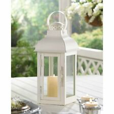 """2 Soft White Painted Finish Gable Roof Candle Lantern Centerpiece Stand 12.8"""""""