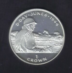 1994 ISLE OF MAN ONE CROWN WW II General BRADLEY D-DAY SILVER COIN KM#701a PROOF