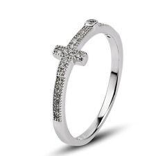 Skinny Fashion Ring Size 5,7 Ss1796 Sale Cross Cz Zirconia .925 Sterling Silver
