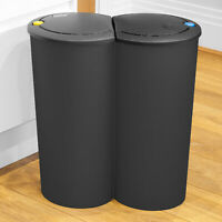Jet Black Circular Double Recycling Waste Bin Duo Rubbish Plastic Disposal 2x25L