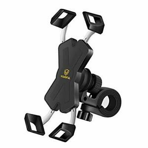 visnfa New Bike Phone Mount with Stainless Steel Clamp Arms Anti Shake and St...
