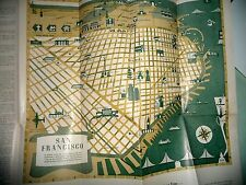 CARTOON MAP SAN FRANCISCO CA WELCOME MAP BAY AREA 1951