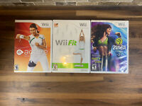 Nintendo Wii 3 Game Lot Fitness games Wii Fit/Zumba Fitness 2/ EA Active Tested