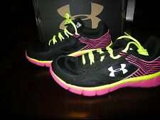 New Girls Black, Pink & Yellow Under Armour GGS Micro Velocity Tennis Shoes, 7