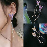 Butterfly Crystal Pearl Earrings Tassel Stud Drop Dangle Charm Women Wedding Hot