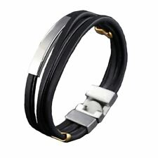 Men's Bracelet Leather Stainless Steel Metal Clasp Wristband Fashion Bangle