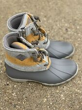 SPERRY Saltwater Varsity Stripe Wool Duck Boots Grey/Yellow Size 7.5 Women's