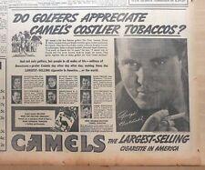 1937 newspaper ad for Camel Cigarettes - Golfers appreciate, Ralph Guldahl